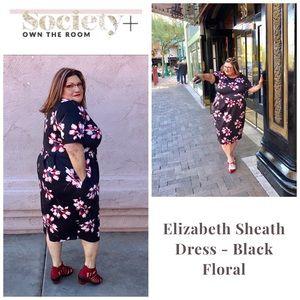 Society Plus Black Floral Elizabeth Sheath Dress